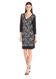 Nine West Women's Printed Detailed Sweater Dress