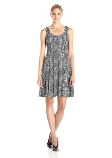 Nine West Women's Printed Fit and Flare Dress
