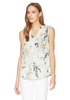 Nine West Women's Printed Floral V Neck Blouse  XL