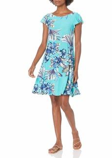 NINE WEST Women's Printed ITY Flutter Sleeve Swing Dress Teal MULTI-4TA