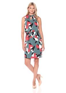 Nine West Women's Printed Ity Key Hole Dress