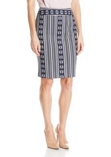 Nine West Women's Printed Linen Stripe Skirt
