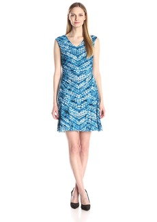 Nine West Women's Printed Mesh Extended Cap V-Neck Fit and Flare Dress