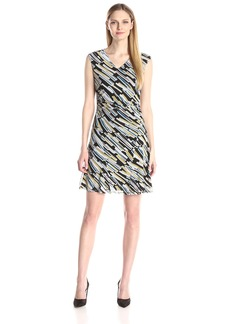 Nine West Women's Printed-Mesh Fit-And-Flare Dress