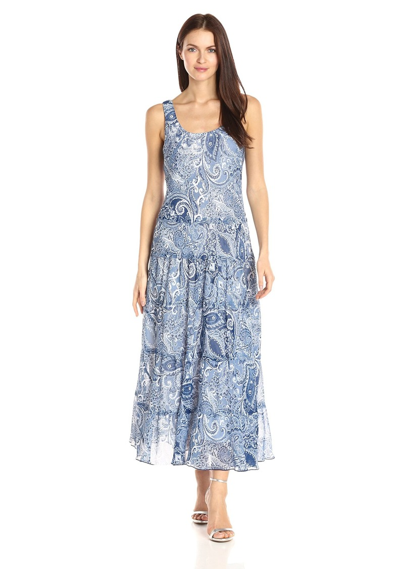 Nine West Women's Printed Multi Tier Maxi Dress Denim Blue