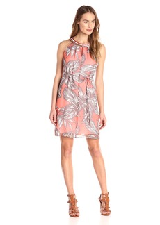Nine West Women's Printed Sleeveless Dress with Drawstring Keyhole and Neckband Trim
