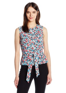 Nine West Women's Printed Sleevless Blouse with Tie Waist Detail
