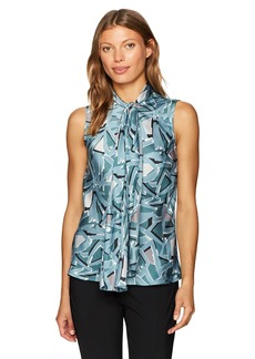 Nine West Women's Printed V Neck Bow Blouse  S