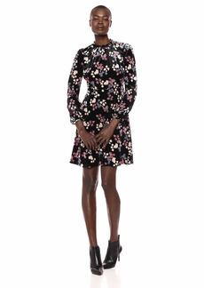 Nine West Women's Printed Velvet Long Sleeve Ruffle Neck Dress
