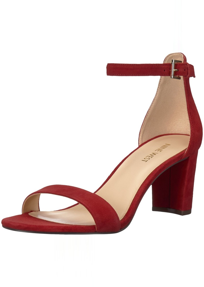 Nine West Women's Pruce Suede Heeled Sandal red