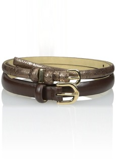 Nine West Women's Python and Smooth Duo Belts
