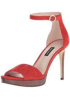 Nine West Women's QUERREY Suede Heeled Sandal red