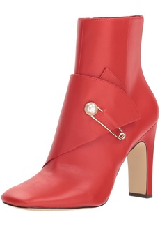NINE WEST Women's QUITIT Leather Ankle Boot red