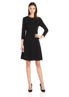 Nine West Women's Raglan Slv Fit&Flare Dress W/ Embellished Detail  XS