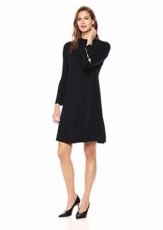 Nine West Women's Rib Flare Sleeve Sweater Dress  L
