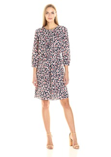 Nine West Women's Ruched Dress With 3/4 Slvs