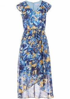 NINE WEST Women's Ruffle Bodice wrap Dress