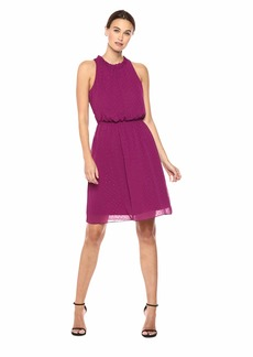 Nine West Women's Ruffle Neck Sleeveless Dress with Smocking Detail at Waist