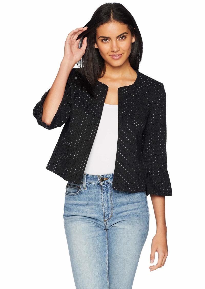 Nine West Women's Ruffle Sleeve Knit Jacket