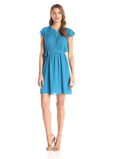 Nine West Women's Ruffled Cap Sleeve Fit and Flare Dress