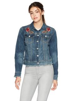 Nine West Women's Sandy Embroidered Denim Jacket Interstate Wash/Floral Embroidery
