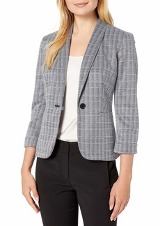 Nine West Women's Shawl Collar ONE Button Plaid Jacket Black/Oasis Multi