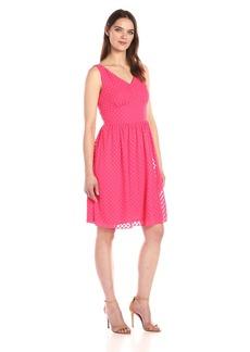 Nine West Women's Sheer Polka Dot Fit and Flare Dress