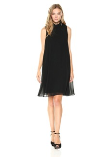 Nine West Women's Shift Dress W/Fly Away Back Detail and Collar