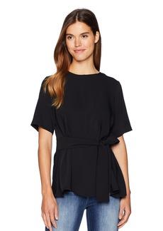 Nine West Women's Short Sleeve Blouse with Sash  L