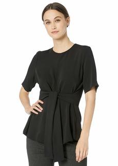 NINE WEST Women's Short Sleeve Jewel Neck Blouse with TIE Belt  XS