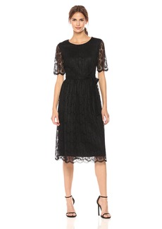 Nine West Women's Short Sleeve Lace Fit and Flare Midi Dress with Self Sash
