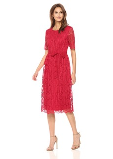 Nine West Women's Short Sleeve Lace Fit and Flare Midi Dress with Self Sash  18