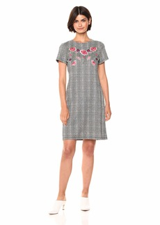 Nine West Women's Short SleeveHoundstooth Embroidered T-Shirt Dress