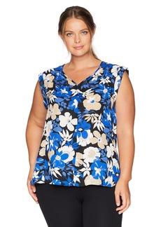 Nine West Women's Size Plus Cap Sleeve Printed V-Neck Blouse with Key Hole Back