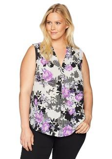 Nine West Women's Size Plus Printed Amber V-Neck CAMI Blouse
