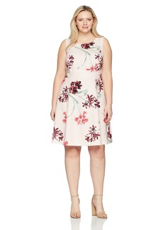 Nine West Women's Size Plus Printed Crepe Dress with Waist Treatment