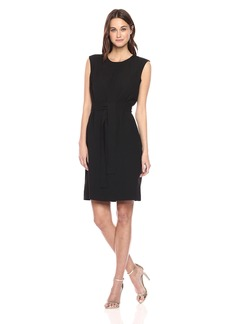 Nine West Women's S/l Crepe Dress with Self Tie