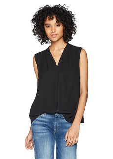 NINE WEST Women's S/L V-Neck BLSE with Inverted Front Pleat