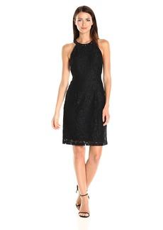 Nine West Women's Sleeveless a-Line Dress with Embellished Neckline