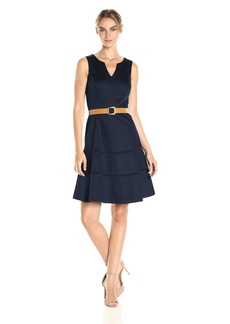 Nine West Women's Sleeveless Belted Fit and Flare Dress with Hem Detail