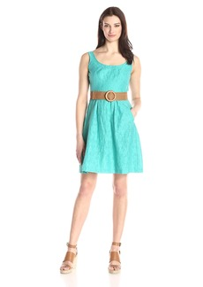 Nine West Women's Sleeveless Belted Fit and Flare Dress with Pleats