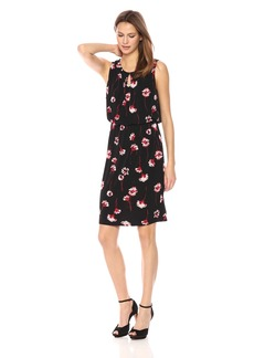 Nine West Women's Sleeveless Blousson Dress With Front Keyhole Detail
