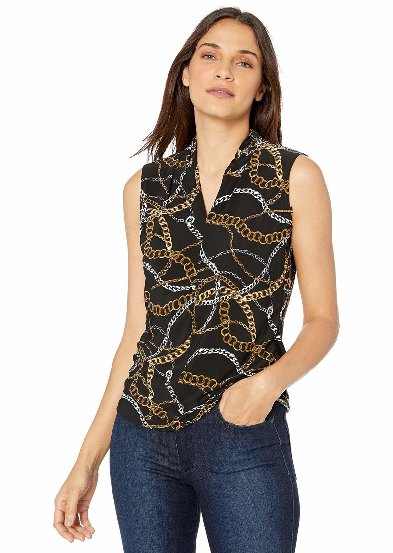 Nine West Women's Sleeveless Chain Printed Inverted V-Neck Knit TOP  L