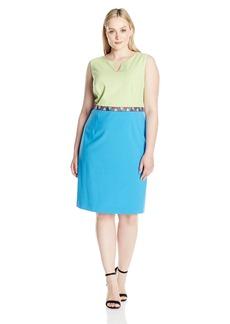 Nine West Women's Sleeveless Color Block Dress with Pattern Waist Detail