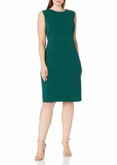 NINE WEST Women's Sleeveless Crepe Dress with Piping