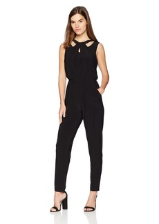 Nine West Women's Sleeveless Cross Front Jersey Jumpsuit