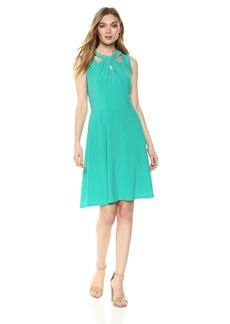 Nine West Women's Sleeveless crossneck fit and Flare Dress