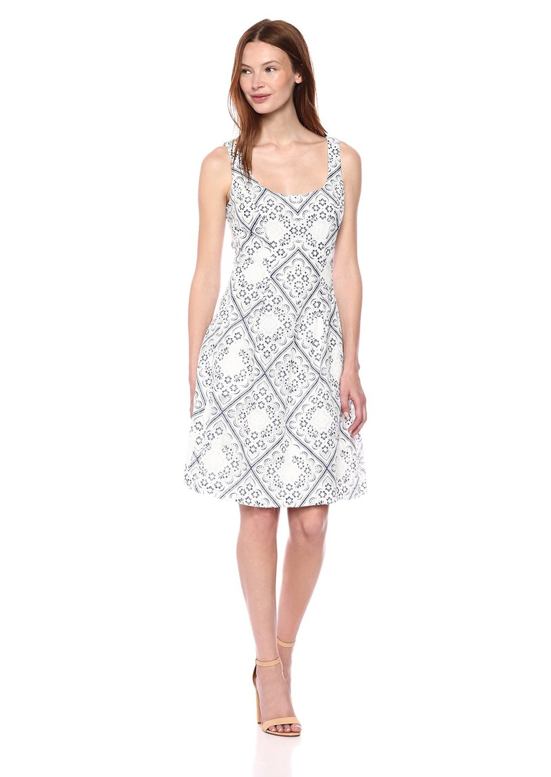 Nine West Women's Sleeveless Diamond lace fit and Flare Dress