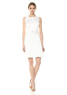 Nine West Women's Sleeveless Dress with Belt and Pleated Skirt