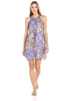 Nine West Women's Sleeveless Dress with Drawstring and Embellished Neckline